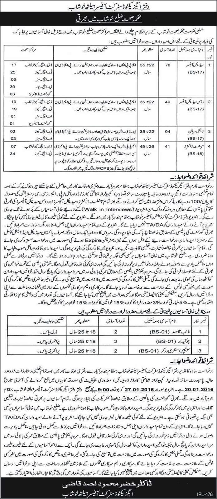 Doctors Jobs in Health Department Khushab Punjab
