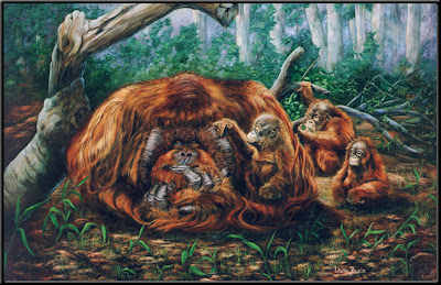 Orangutans - Oil on Canvas by Laura Curtin
