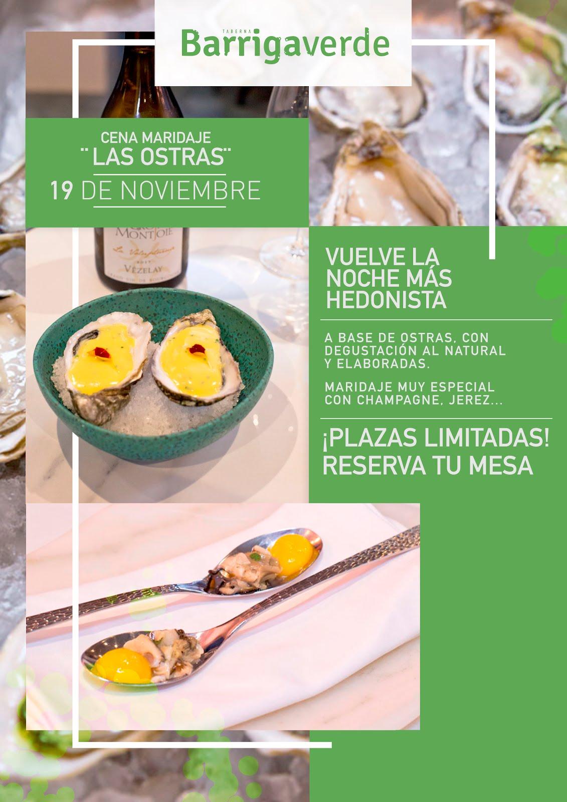 """Cena maridaje """"Las Ostras"""" en Barrigaverde Taberna."""
