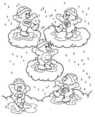 Dibujo de ositos en las nubes y bajo la lluvia para colorear ~ 4 Dibujo