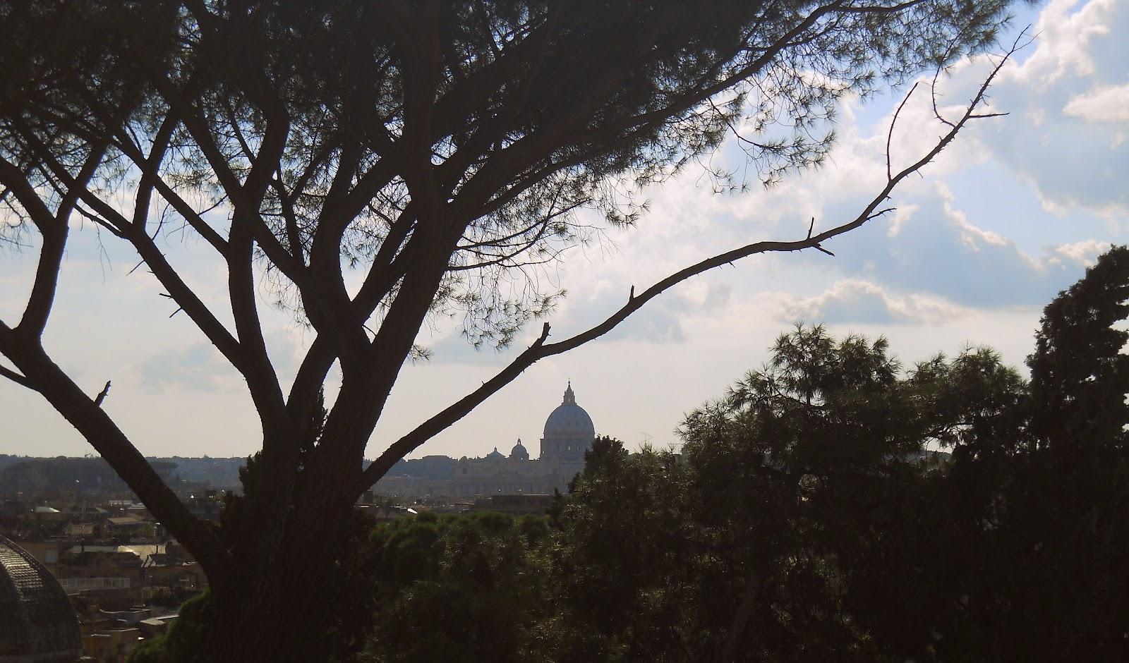Panorama di Roma, Basilica di San Pietro, città del Vaticano vista da Villa Borghese