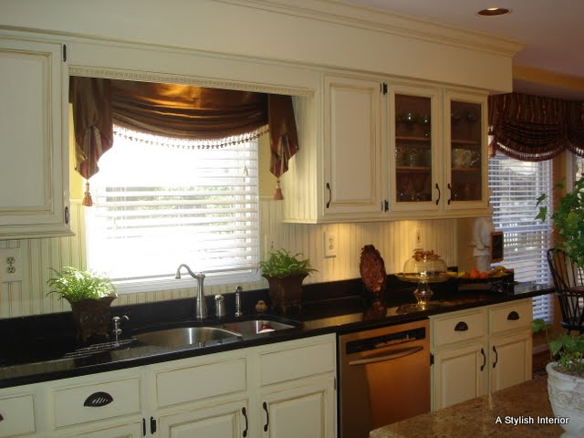 A stylish interior french country kitchen before after - French country kitchen window treatments ...