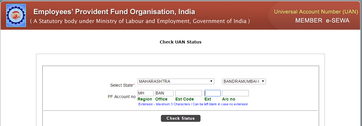check your universal account number status online