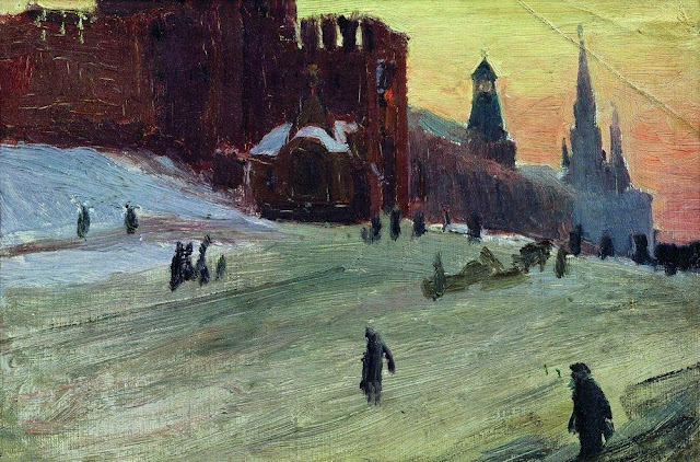 """Moscow. Red Square"" Boris Kustodiev , Russian painters, evening, dusk, gloaming, cold, walking in the snow"