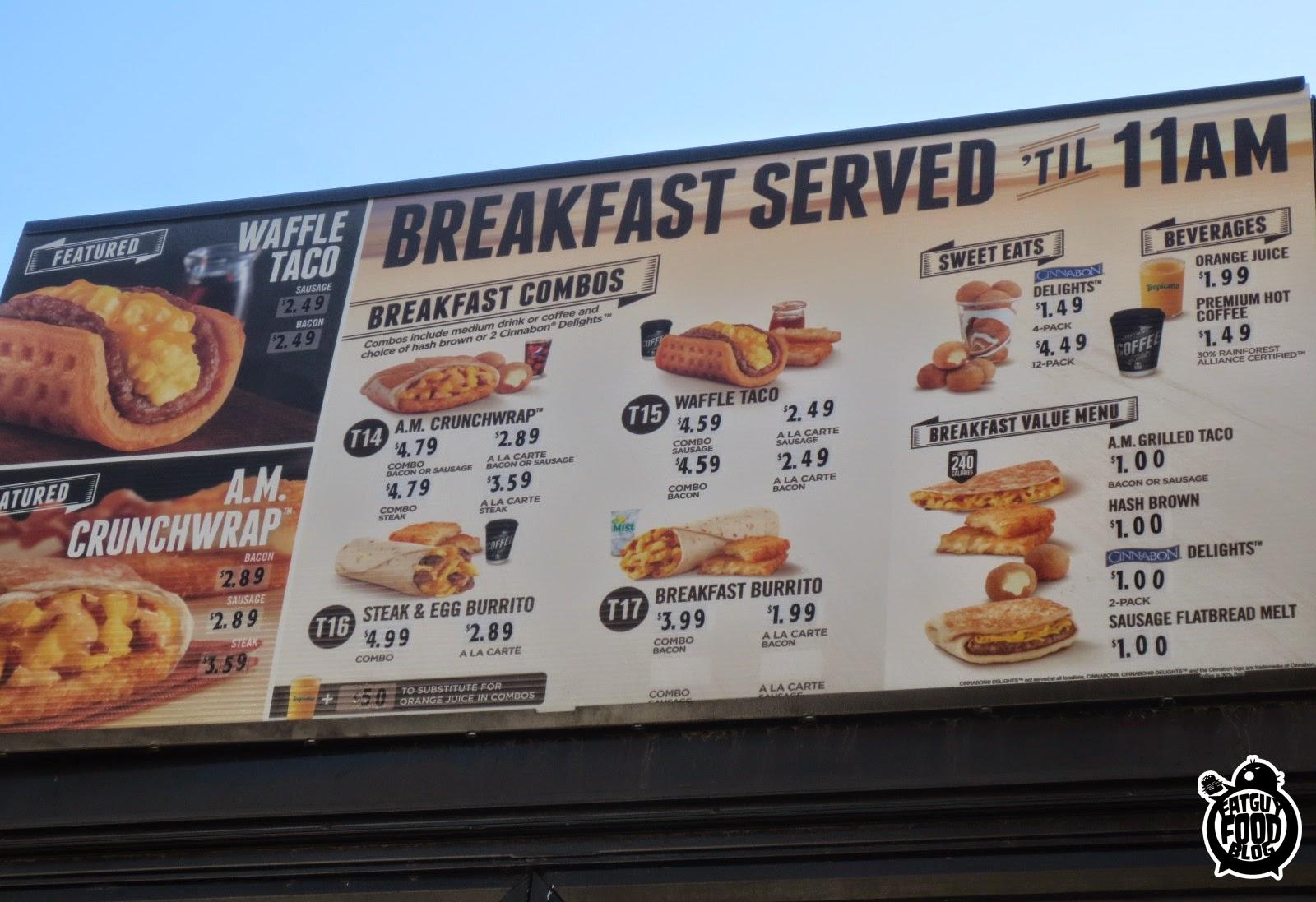 FATGUYFOODBLOG: Taco Bell Breakfast Menu Part 1: The A.M ...  Taco