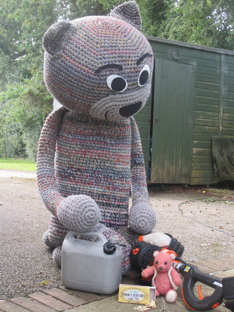Fiddly Fingers crochet cat Chester Taffy crochet bear getting into mischief  mending hedge trimmer