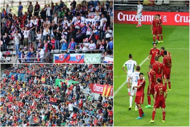 Hinchas Eslovaquia y Espana - Partido de clasificación para la Eurocopa 2016 Espana Eslovaquia en Oviedo