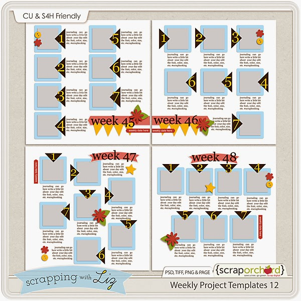 http://scraporchard.com/market/Weekly-Project-12-Digital-Scrapbook-Templates.html