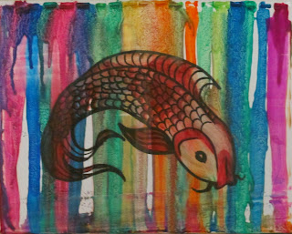 crayon drip fish art