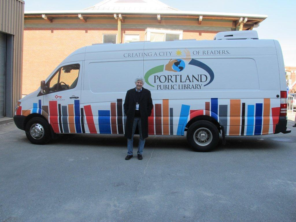 Director Steve Podgajny and the Bookmobile