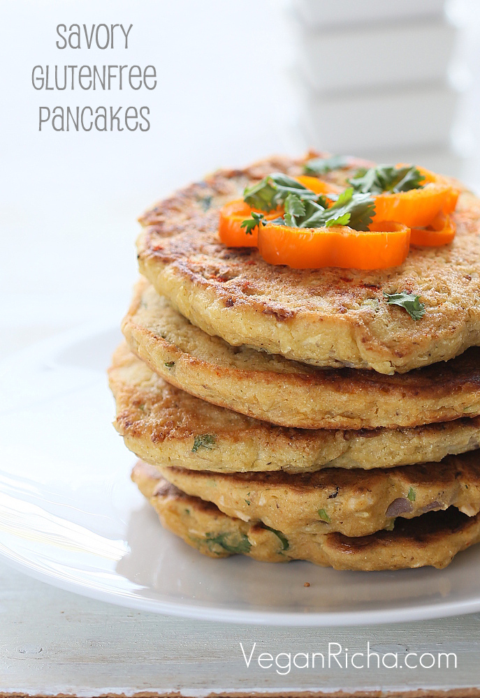 Vegan Chickpea Flour Pancakes/mini Omelettes with Cauliflower and Shiitake mushrooms