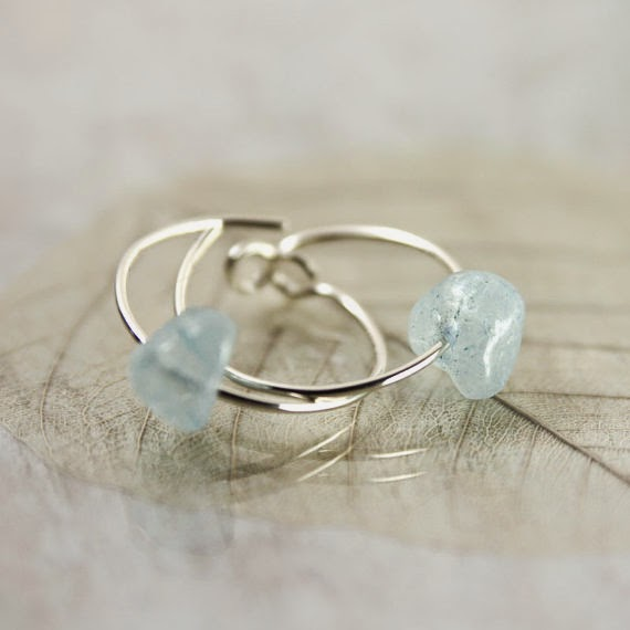 Aquamarine hoop earrings by Nanfan Jewellery at Bird's Yard