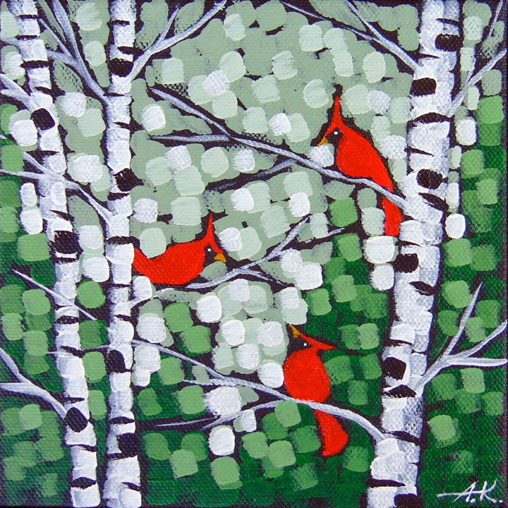 Spring Cardinal Song Aaron Kloss Birch Pointillism Landscape Painting Minnesota