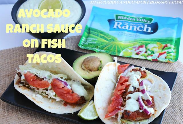Curry and comfort avocado ranch sauce on cajun fish tacos for Cajun fish tacos