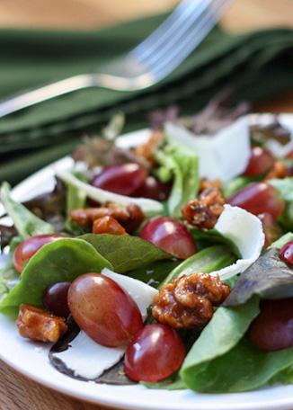 Grape and Candied Walnut Salad - get the recipe at barefeetinthekitchen.com