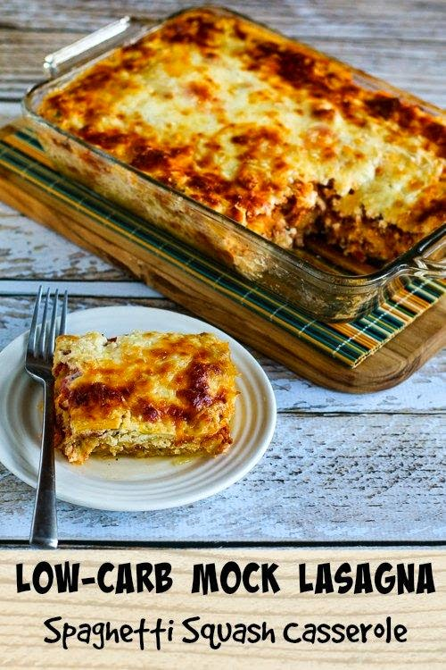 Low-Carb and Gluten-Free Mock Lasagna Spaghetti Squash Casserole found on KalynsKitchen.com
