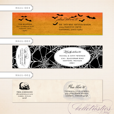 printable diy halloween party wrap around address label vintage rustic spooky skull bats