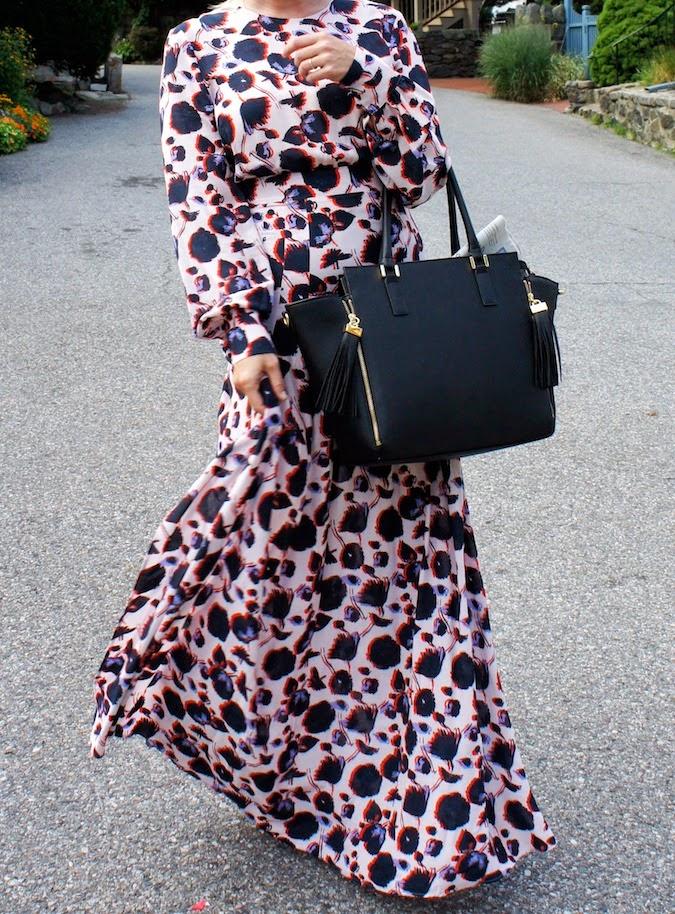H&M floral maxi dress, H&M handbag, H&M boston