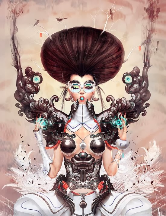 Yu Cheng Hong illustrations fantasy oriental chinese art women surrealism