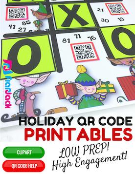 4th Grade Holiday QR Code Printables - Low Prep!