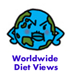 Globe frowning. Worldwide dieting view.
