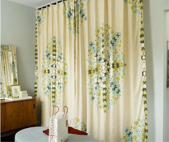 floor to ceiling curtains: part of a roundup of wall covering ideas for renters! lots of good ideas
