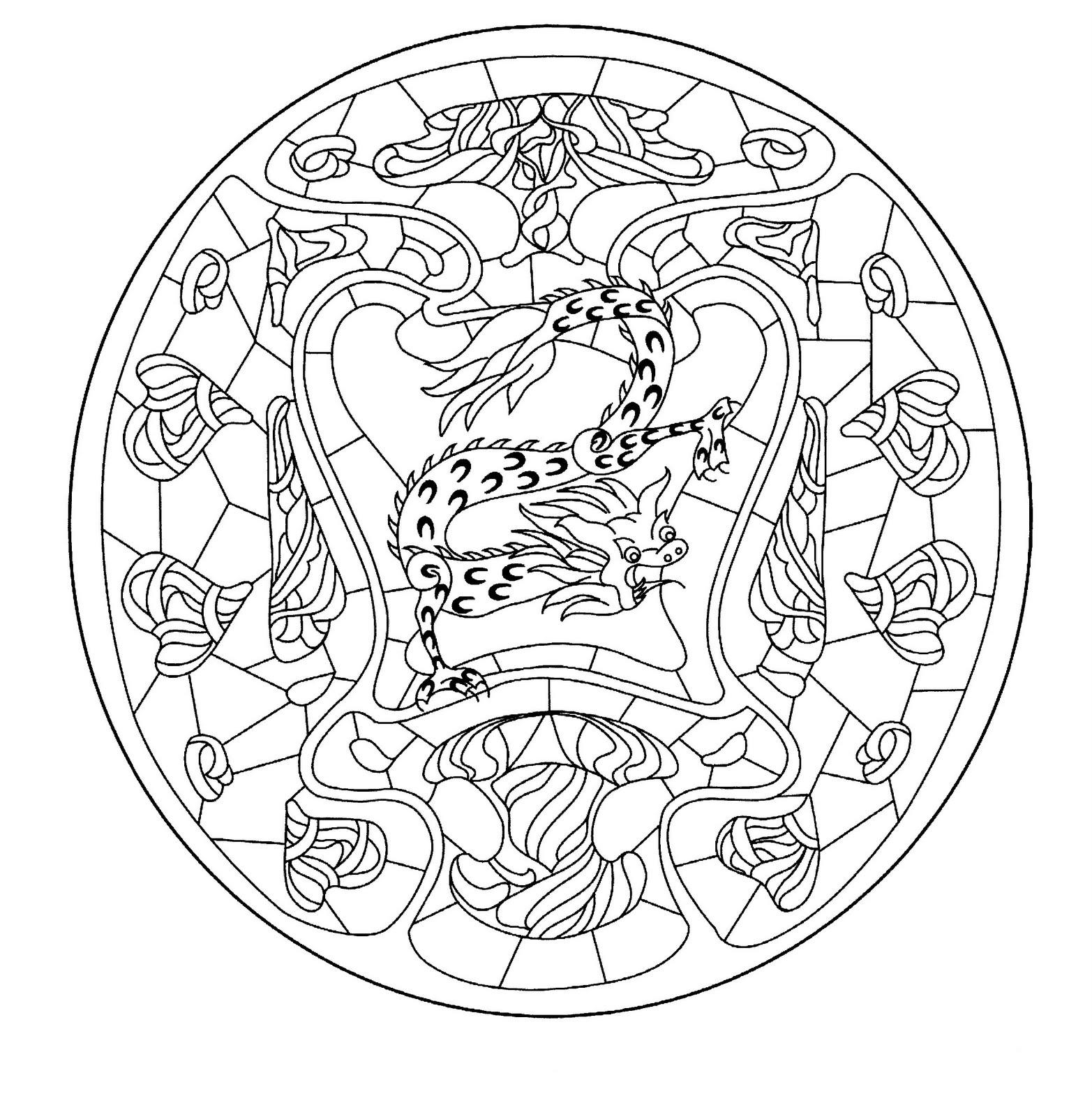 Mandalas para colorear - Mandala dragon ...