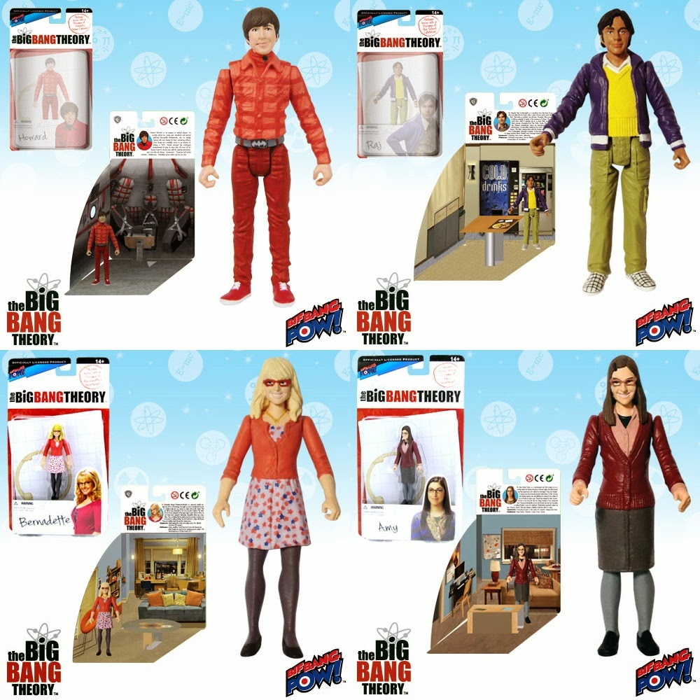 "The Big Bang Theory Series 1 3¾"" Action Figures by Bif Bang Pow! - Howard, Raj, Bernadette & Amy Farrah Fowler"