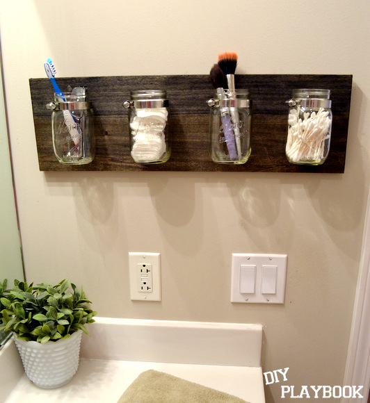 How to create a mason jar organizer diy playbook for Bathroom organizers