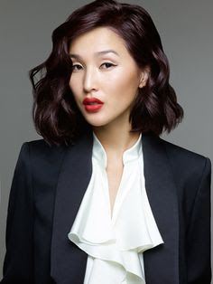 Foto Model Rambut Violet Wavybob Trend 2016 Wanita Indonesia Asia