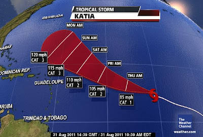 Tropischer Sturm KATIA vielleicht heute noch Hurrikan - Impakt Karibik immer unwahrscheinlicher, Vorhersage Forecast Prognose, Verlauf, Satellitenbild Satellitenbilder, Katia, August, September, Atlantik, 2011, Hurrikansaison 2011,
