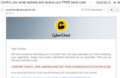 Xác nhận địa chỉ email để nhận CyberGhost VPN Premium Key