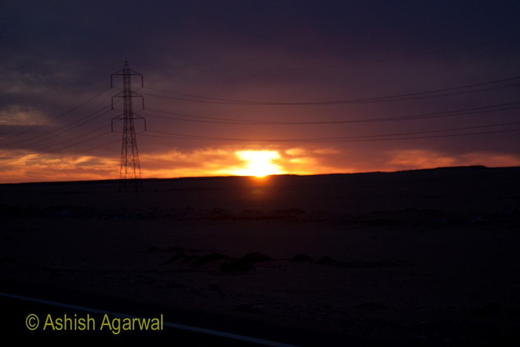 Light of sunset over the horizon as seen from the Abu Simbel road in Egypt
