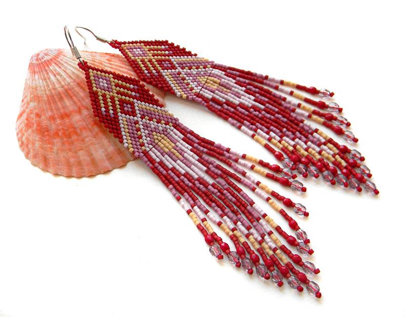 Бохо-серьги украшения из бисера красные длинные сережки