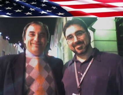 Sam Bazzi of Arcs, right, with Roberto Gaetano at ICANN Los Angeles