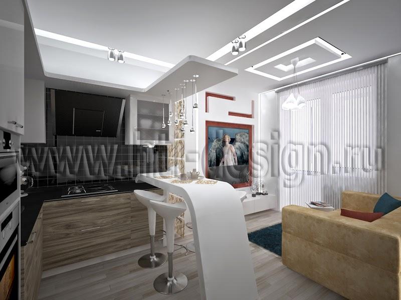 Интерьер квартиры свободной планировки (И-155 эркер)