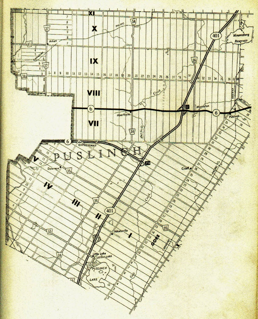 ClimbingMy Family Tree: Map of Puslinch Twp, Wellington County, Ontario original concessions and lots,