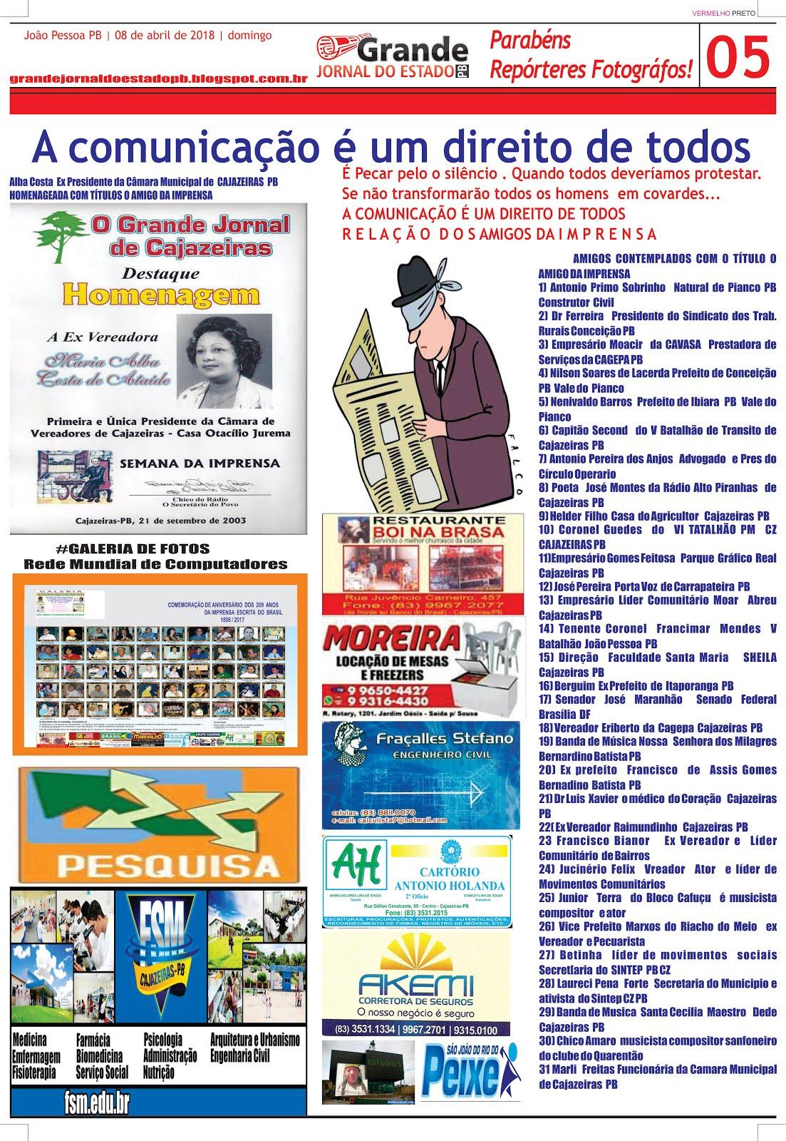 PRIMEIRO HOMENAGEADOS  DA FINALIZAÇÃO DO EVENTO 209 ANOS DA IMPRENSA  BRASILEIRA