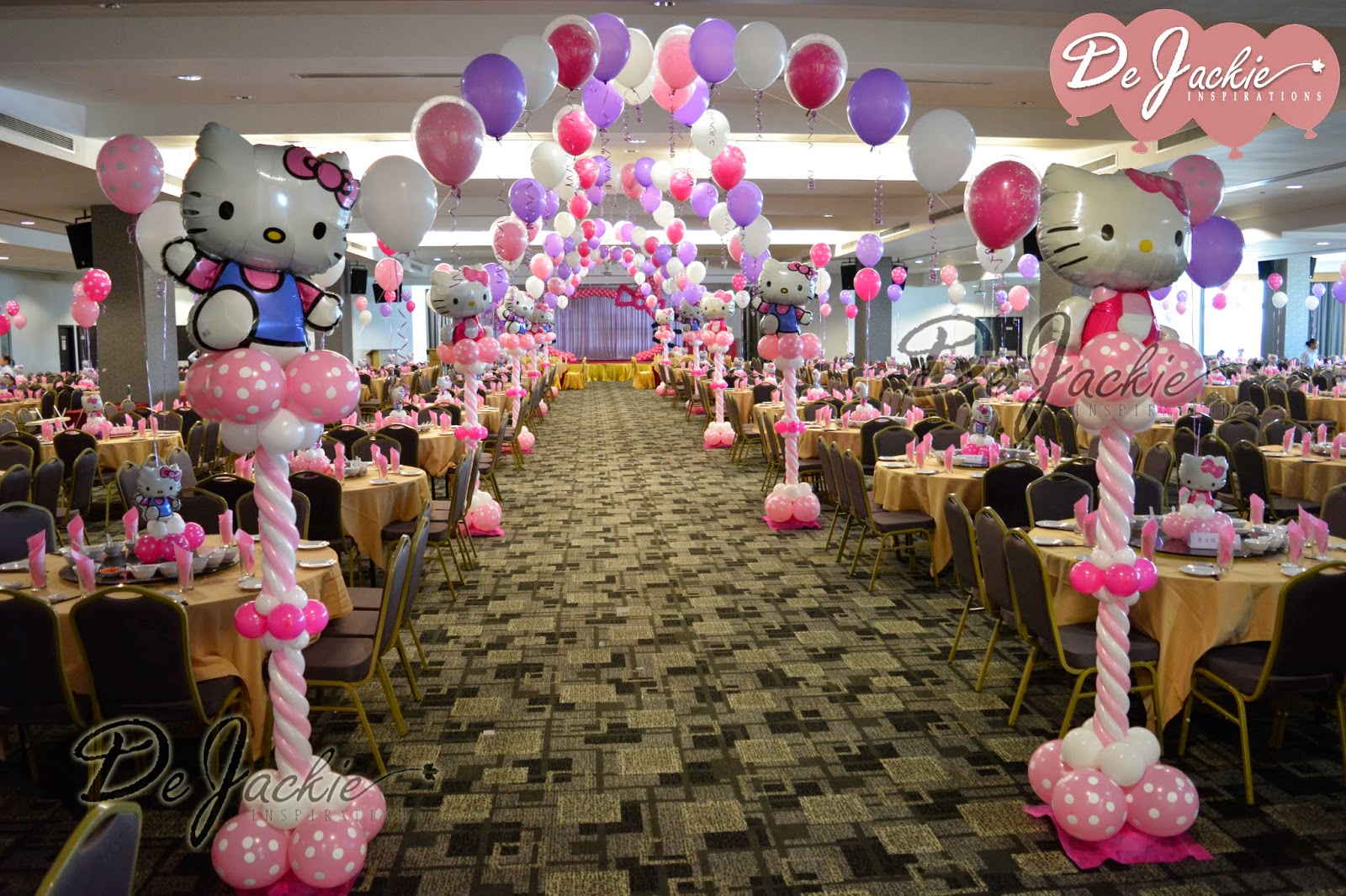 Balloon decorations for weddings birthday parties balloon hello kitty themed wedding decoration sibu kingwood hotel junglespirit Image collections