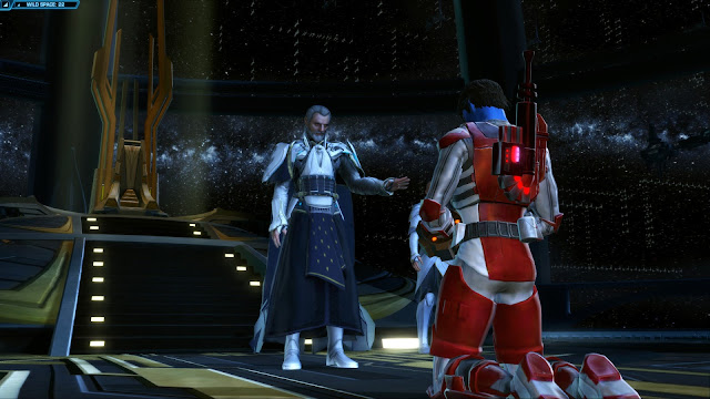 Star Wars: The Old Republic, Knights of the Fallen Empire, Chapter I The Hunt zakuul throne room kneeling to valkorion