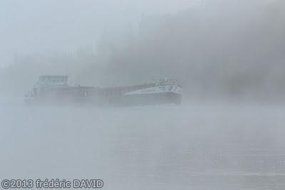 silhouettes maritime rivière brume péniche bateau Seine-et-Marne