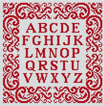 monograma em ponto cruz