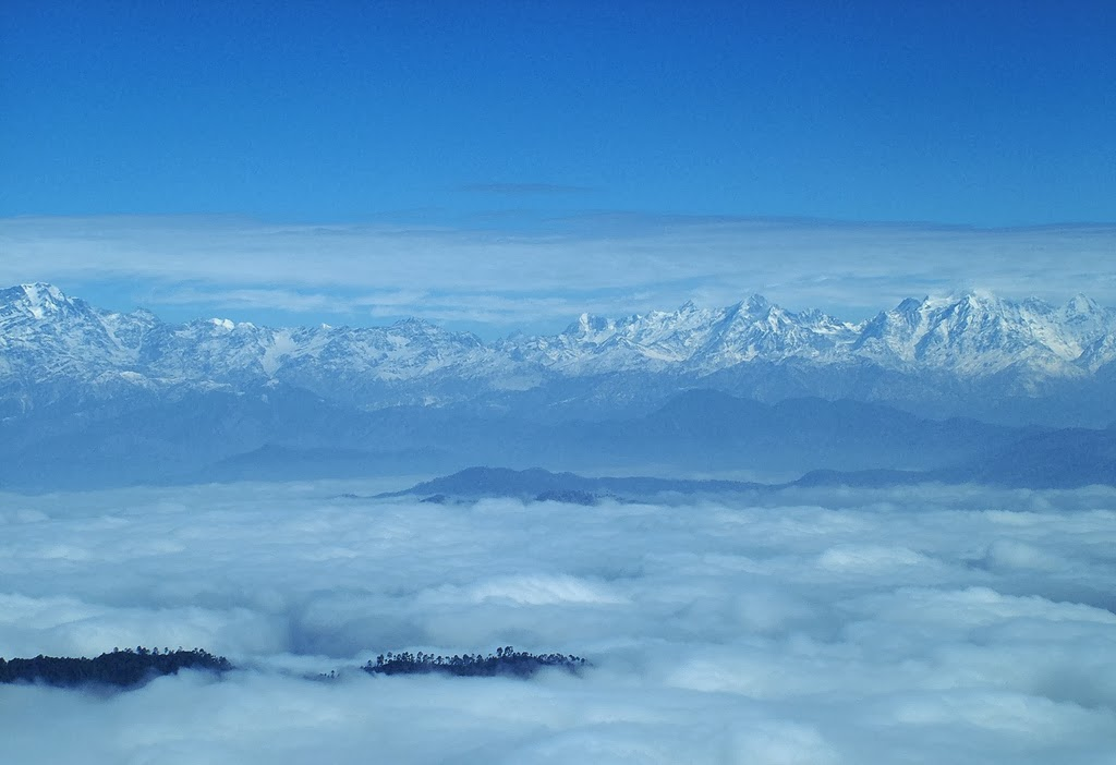 The 300 km view of Himalayas from the Zero Point at Binsar