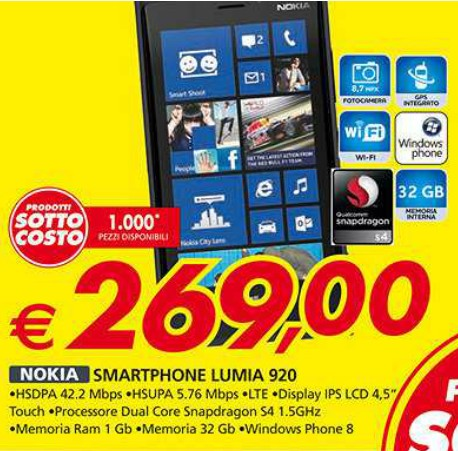 Auchan propone in sottocosto lo smartphone windows phone 8 Nokia Lumia 920 a soli 269 euro