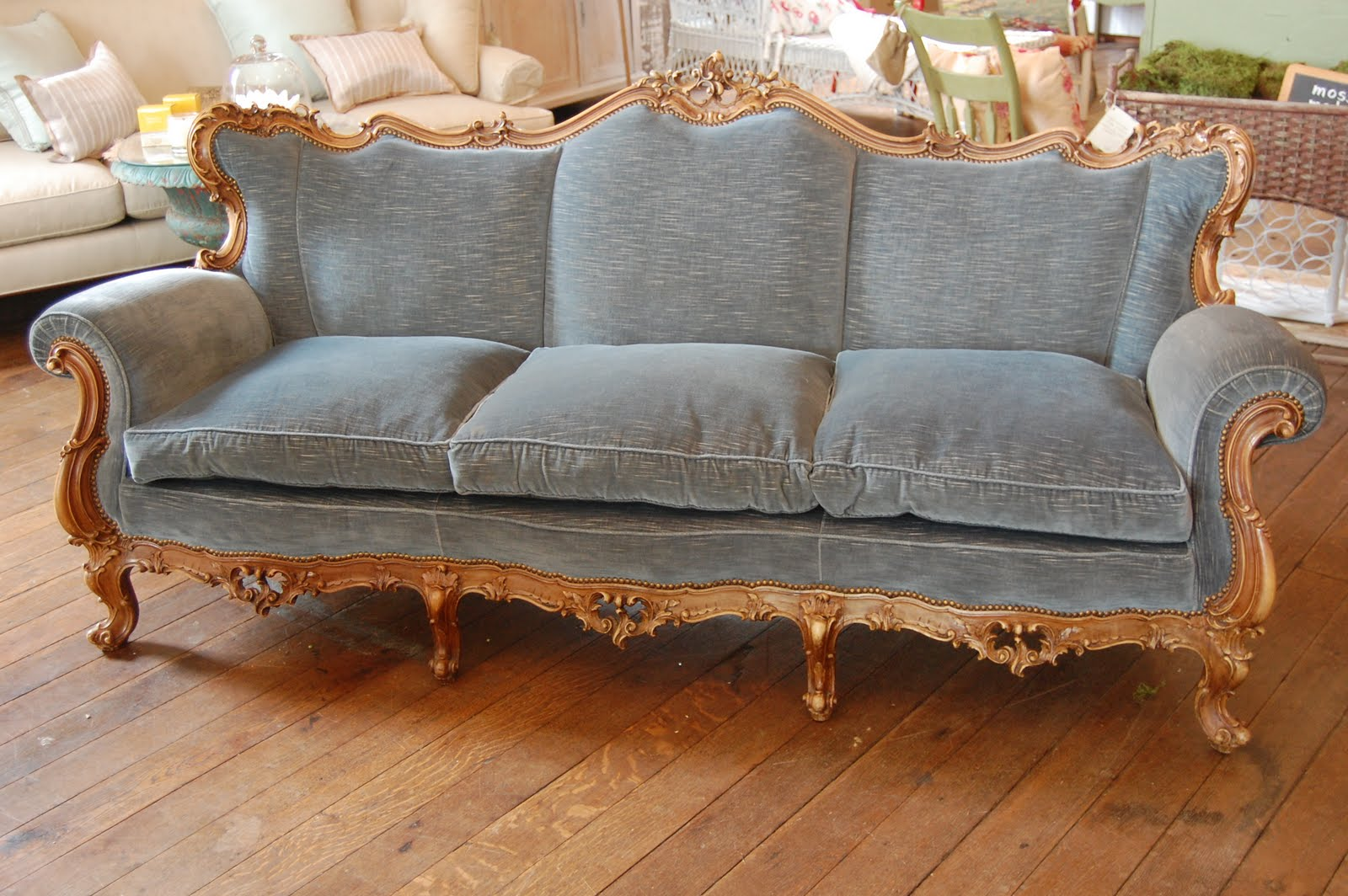 my trouvaille my favorite things blue couch edition rh budgetedbliss blogspot com french country sofas for sale used french sofas for sale