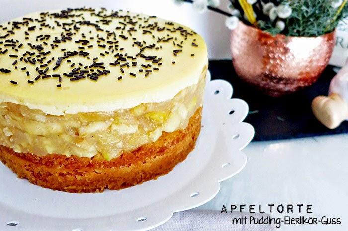 Apfeltorte mit Pudding-Eierlikör-Guss