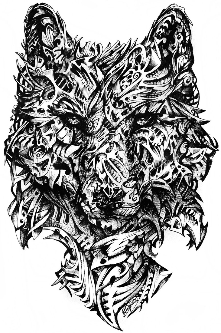 02-Wolf-René-Campbell-Art-in-Animal-Doodle-Drawings-www-designstack-co