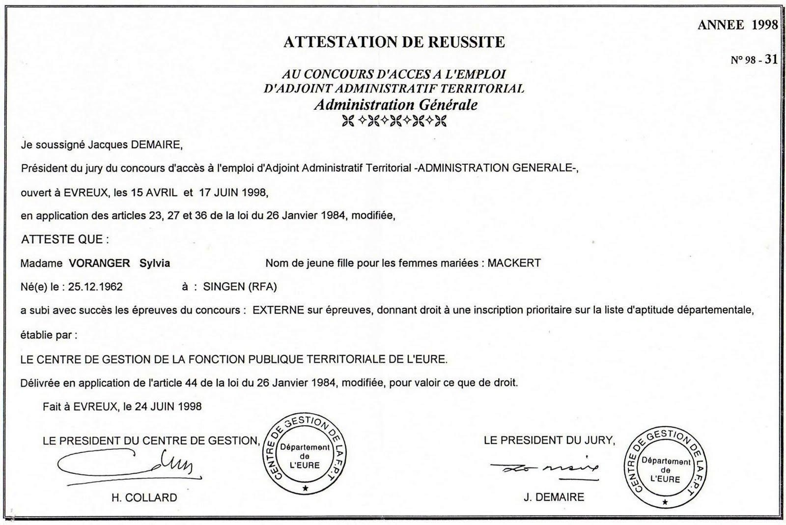 Blog D Expression Certificat De Reussite 1998