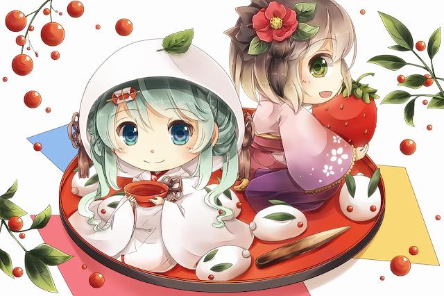 Cute Chibi Kimono Japanese Dress Girls Anime HD Wallpaper Desktop PC Background 2095