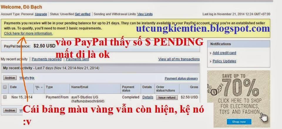 PayPal Kiếm tiền trên điện thoại Android